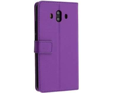 Synthetic Leather Wallet Case with Stand for Huawei Mate 10 - Purple Leather Wallet Case