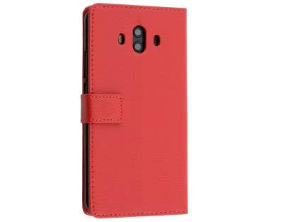 Synthetic Leather Wallet Case with Stand for Huawei Mate 10 - Red Leather Wallet Case