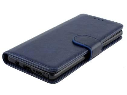 Slim Synthetic Leather Wallet Case with Stand for Samsung Galaxy Note 8 - Blue