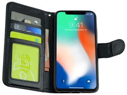 Slim Synthetic Leather Wallet Case with Stand for Apple iPhone X - Black