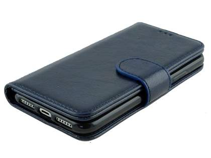 Slim Synthetic Leather Wallet Case with Stand for Apple iPhone X - Blue