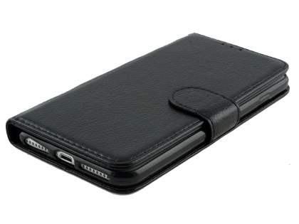 Slim Synthetic Leather Wallet Case with Stand for Apple iPhone 8 Plus - Black