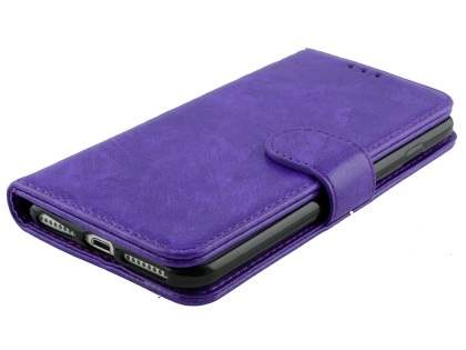Slim Synthetic Leather Wallet Case with Stand for Apple iPhone 8 Plus - Purple