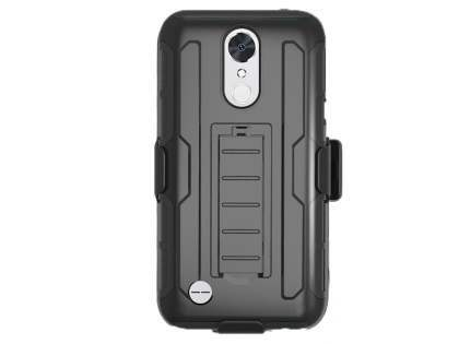 Rugged Case with Holster Belt Clip for LG K10 (2017) - Black Impact Case