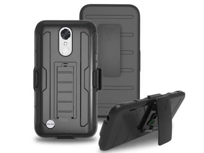 Rugged Case with Holster Belt Clip for LG K10 (2017) - Black