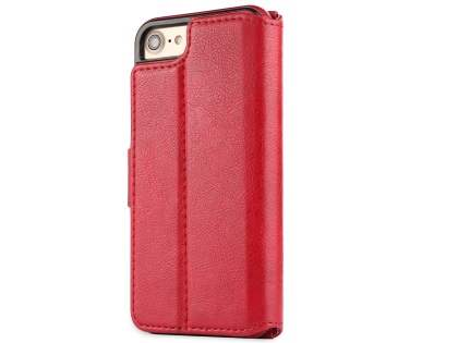2-in-1 Synthetic Leather Wallet Case for iPhone 8/7 - Red Leather Wallet Case