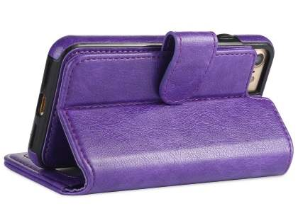 2-in-1 Synthetic Leather Wallet Case for iPhone 8/7 - Purple