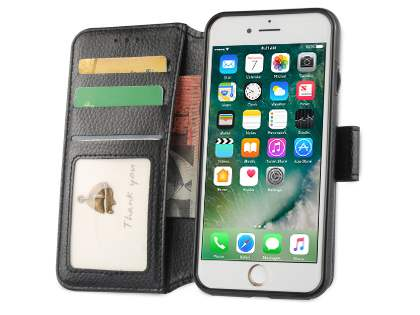 2-in-1 Synthetic Leather Wallet Case for iPhone 8/7 - Black