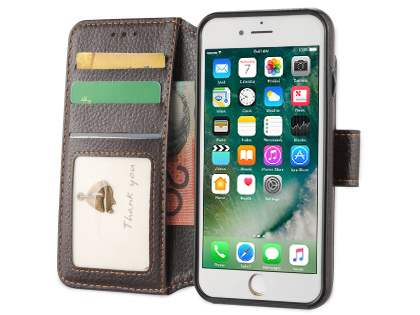 2-in-1 Synthetic Leather Wallet Case for iPhone 8/7 - Brown