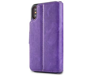 2-in-1 Synthetic Leather Wallet Case for iPhone Xs/X - Purple