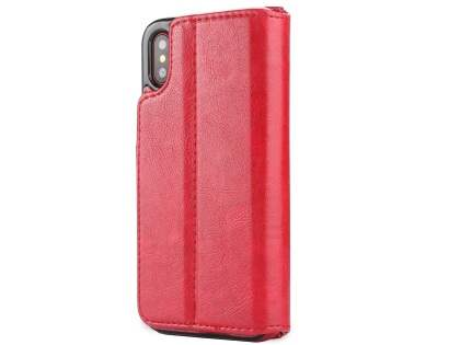 2-in-1 Synthetic Leather Wallet Case for iPhone Xs/X - Red Leather Wallet Case