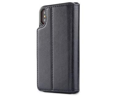2-in-1 Synthetic Leather Wallet Case for iPhone Xs/X - Midnight Blue Leather Wallet Case