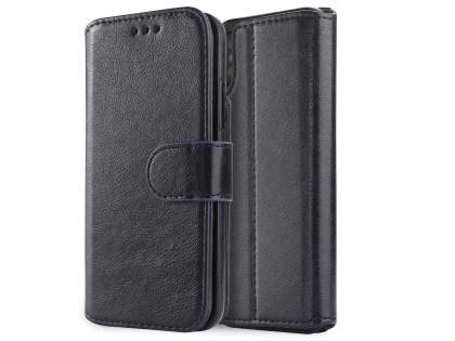 2-in-1 Synthetic Leather Wallet Case for iPhone Xs/X - Midnight Blue