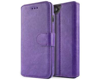 2-in-1 Synthetic Leather Wallet Case for iPhone 8 Plus/7 Plus - Purple