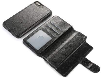 2-in-1 Synthetic Leather Wallet Case for iPhone 8 Plus/7 Plus - Black
