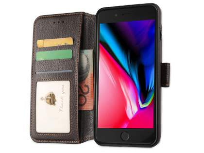 2-in-1 Synthetic Leather Wallet Case for iPhone 8 Plus/7 Plus - Brown