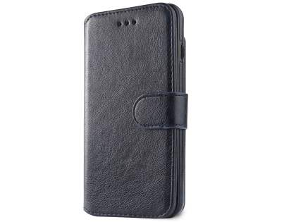 2-in-1 Synthetic Leather Wallet Case for iPhone 8 Plus/7 Plus - Midnight Blue