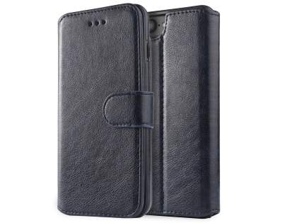 2-in-1 Synthetic Leather Wallet Case for iPhone 6s Plus/6 Plus - Midnight Blue