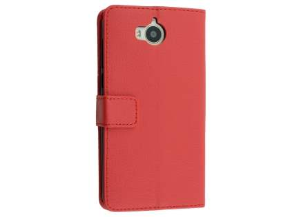 Synthetic Leather Wallet Case with Stand for Huawei Y5 (2017) - Red Leather Wallet Case