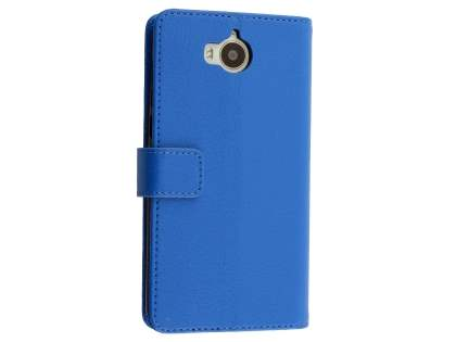 Synthetic Leather Wallet Case with Stand for Huawei Y5 (2017) - Blue Leather Wallet Case
