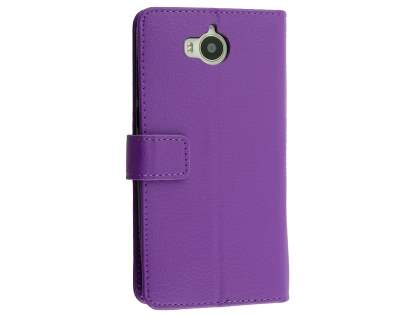 Synthetic Leather Wallet Case with Stand for Huawei Y5 (2017) - Purple Leather Wallet Case