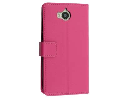 Synthetic Leather Wallet Case with Stand for Huawei Y5 (2017) - Pink Leather Wallet Case