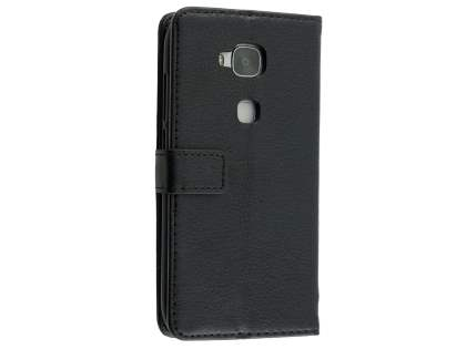 Synthetic Leather Wallet Case with Stand for Huawei G8 - Black Leather Wallet Case