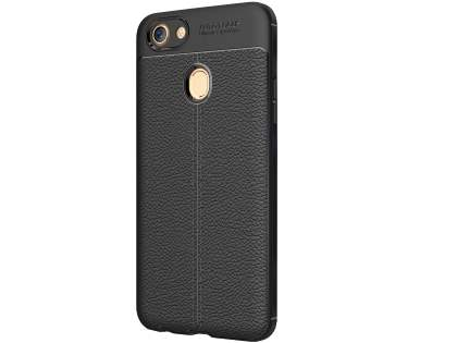 Leather Look Gel Case for Oppo A73 - Black Soft Cover