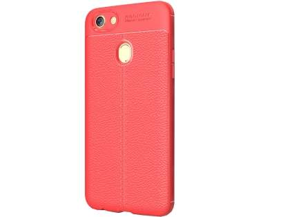 Leather Look Gel Case for Oppo A73 - Fluorescent Coral Soft Cover