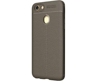 Leather Look Gel Case for Oppo A73 - Grey Soft Cover