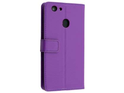 Synthetic Leather Wallet Case with Stand for Oppo A73 - Purple Leather Wallet Case