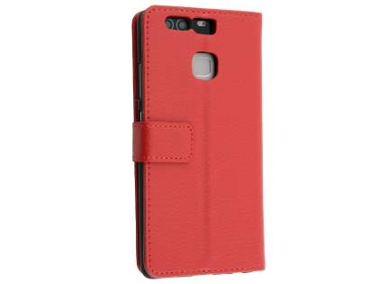 Synthetic Leather Wallet Case with Stand for Huawei P9 - Red Leather Wallet Case