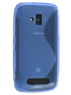 Wave Case for Nokia Lumia 610 - Frosted Blue/Blue Soft Cover