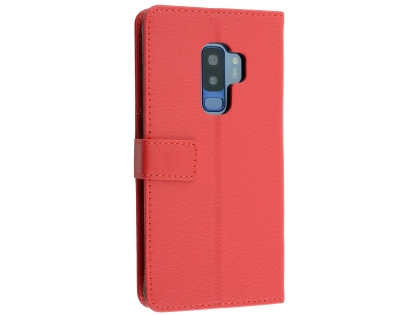 Synthetic Leather Wallet Case with Stand for Samsung Galaxy S9+ - Red Leather Wallet Case