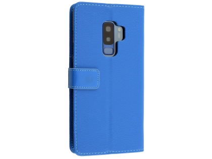 Synthetic Leather Wallet Case with Stand for Samsung Galaxy S9+ - Blue Leather Wallet Case