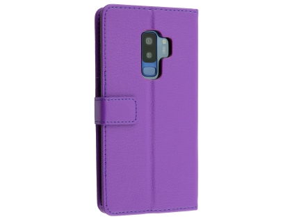 Synthetic Leather Wallet Case with Stand for Samsung Galaxy S9+ - Purple Leather Wallet Case
