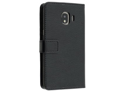 Synthetic Leather Wallet Case with Stand for Samsung Galaxy J2 Pro (2018) - Black Leather Wallet Case