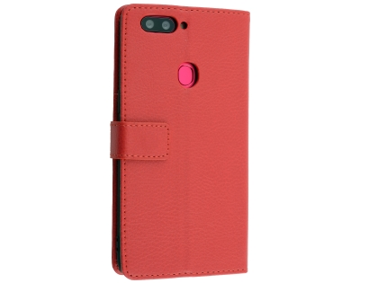Synthetic Leather Wallet Case with Stand for Oppo R11s - Red Leather Wallet Case