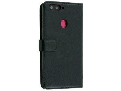 Synthetic Leather Wallet Case with Stand for Oppo R11s - Black Leather Wallet Case