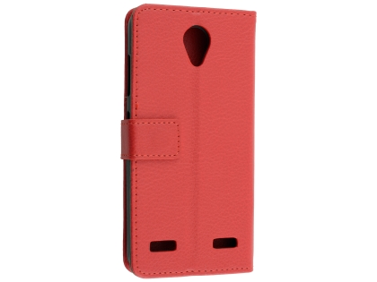 Synthetic Leather Wallet Case with Stand for Telstra 4GX Enhanced - Red Leather Wallet Case