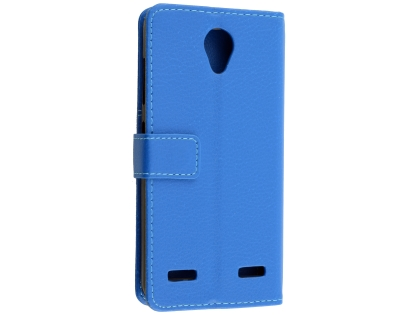 Synthetic Leather Wallet Case with Stand for Telstra 4GX Enhanced - Blue Leather Wallet Case