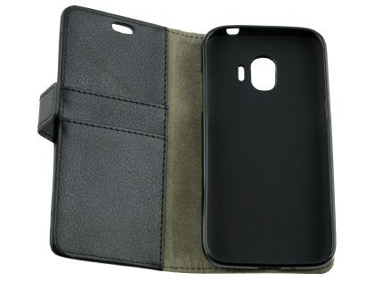 Synthetic Leather Wallet Case with Stand for Samsung Galaxy J2 Pro (2018) - Black