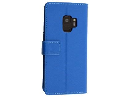 Synthetic Leather Wallet Case with Stand for Samsung Galaxy S9 - Blue Leather Wallet Case