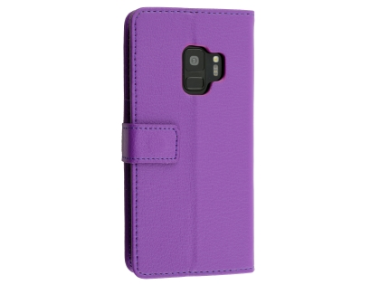 Synthetic Leather Wallet Case with Stand for Samsung Galaxy S9 - Purple Leather Wallet Case