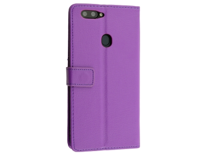 Synthetic Leather Wallet Case with Stand for Oppo R11s Plus - Purple Leather Wallet Case