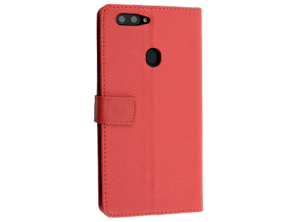 Synthetic Leather Wallet Case with Stand for Oppo R11s Plus - Red Leather Wallet Case