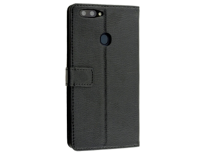 Synthetic Leather Wallet Case with Stand for Oppo R11s Plus - Black Leather Wallet Case