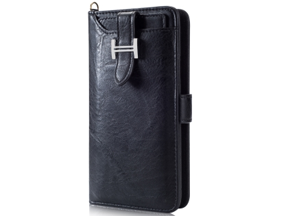 2-in-1 Synthetic Leather Wallet Case for Samsung Galaxy S9 - Black Leather Wallet Case