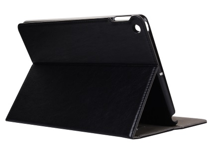 Synthetic Leather Case with Stand for iPad Mini 1/2/3 - Black Leather Flip Case