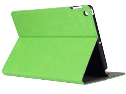 Synthetic Leather Case with Stand for iPad Mini 1/2/3 - Green Leather Flip Case